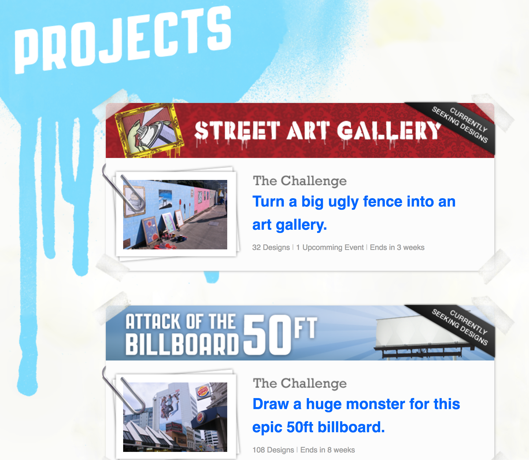 Screenshot of the projects page
